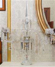 Sale 8649A - Lot 26 - A Baccarat style three branch candelabrum with prismatic drops, height 77cm