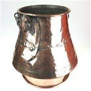 Sale 8868 - Lot 1153 - Large French Footed Copper Cauldron, bud shaped with copper handles