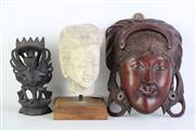Sale 8894 - Lot 368 - Small Thai Buddha Head (H:16cm) Together With Carved Mask And Small Deity Figure