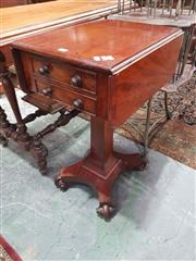 Sale 8917 - Lot 1045 - Regency Mahogany Pembroke Table, with drop leaves, two drawers & faceted pedestal on quadraform base