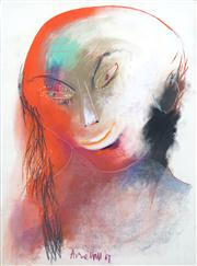Sale 8410A - Lot 5026 - Anne Hall (1945 - ) - Untitled, 1967 (Woman with Black Hair) 76.5 x 56cm (sheet size)
