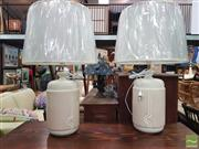 Sale 8447 - Lot 1071 - Pair of Italian Hand Made Table Lamps with Bagni Design