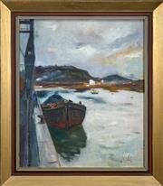 Sale 8459 - Lot 581 - Erik Jerken (1898 - 1947) - Harbour Scene 72.5 x 60cm