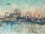 Sale 8526 - Lot 537 - Charles Bush (1919 - 1989) - Melbourne from the site of the new National Gallery 90 x 120cm