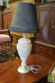Sale 8520 - Lot 1057 - Turned Carved Alabaster Lamp with Grape Motif