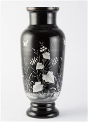 Sale 8518A - Lot 34 - An antique black glass vase, C: 1880, painted with florals, foliates and butterflies in white enamel. Ht: 41cm x D: 18cm