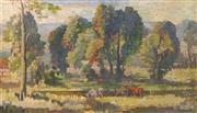 Sale 8704 - Lot 570 - Arthur Murch (1902 - 1989) - Landscape with Horses 34.5 x 59.5