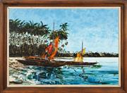 Sale 8771 - Lot 2015 - Geoffry Pike - Fishing Boats off the Island 65 x 90cm