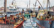 Sale 8947 - Lot 578 - Cedric Emanuel (1906 - 1995) - Constitution Docks, Hobart 27 x 47 cm (frame: 73 x 87 x 5 cm)
