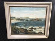 Sale 8990 - Lot 2055 - Rex Newell Coastal Scene oil on board 59 x 70cm (frame) signed -