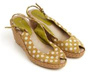 Sale 9071F - Lot 50 - A PAIR OF LIZ CLAYBORNE PEEP TOE WEDGES; with white and mustard polka dots,  size 36 (worn)