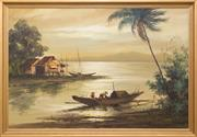Sale 8368A - Lot 30 - Philippine School - Untitled (Fishermen) 1969 60 x 90 cm