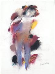 Sale 8410A - Lot 5027 - Anne Hall (1945 - ) - Untitled, 1966 (Standing Nude with Purple) 76.5 x 56cm (sheet size)