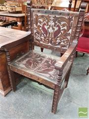 Sale 8444 - Lot 1084 - Pair of Spanish Style Armchairs, the pressed leather with various birds to backs & seats