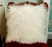 Sale 8448A - Lot 7 - White Tibetan soft lamb fur cushion 40cm x 40cm Condition: New