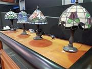 Sale 8462 - Lot 1004 - Four Table Form Lamps Depicting Flowers