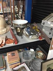 Sale 8757 - Lot 28 - A collection of EP wares including a unique gravy boat, an entree dish with cask rim and a ceramic dish with plated stand