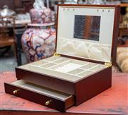 Sale 8746 - Lot 1080 - A timber jewellery box with velvet lined interior
