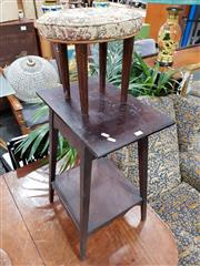 Sale 8769 - Lot 1095 - Tiered Timber Side Table & Vintage Foot Stool (2)