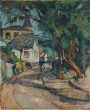 Sale 8867 - Lot 548 - Gretchen Wohlwill (1878-1962) - Street Scene 1917 60.5 x 59 cm