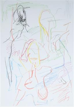 Sale 9116 - Lot 526 - Ken Whisson (1927 -) Various Coloured Faces, 1998 pencil and crayon on paper 48 x 33 cm (frame: 77 x 60 x 4 cm) signed