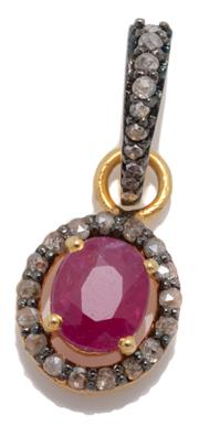 Sale 9046 - Lot 359 - A RUBY AND DIAMOND CLUSTER PENDANT; oval cluster centring a 0.95ct ruby to surround and bale set with rose cut diamonds totalling 0....