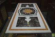 Sale 8335 - Lot 1012 - Pietra Dura Marble Top Table, with central star burst, on cast iron supports with stretchers