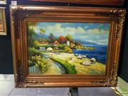 Sale 8619 - Lot 2025A - A Claudie Mediterranean Summer , acrylic on canvas, 90 x 120cm (frame), signed lower right
