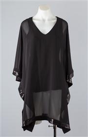 Sale 8685F - Lot 3 - A Joseph Ribkoff black kaftan with slip dress and sequined trim, size UK 8