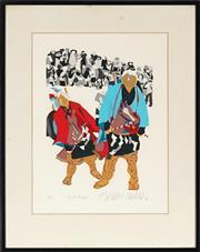 Sale 8807 - Lot 2042 - Masaaki Tanaka (1947 - )  Festival Scene, 1976  screenprint ed. 83/200, 30.5 x 22.5cm, signed and dated lower right -