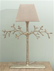 Sale 8904H - Lot 7 - A faux tree silver painted occasional lamp with linen shade. Height 60cm