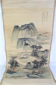 Sale 8913C - Lot 86 - Green mountain themed Chinese scroll