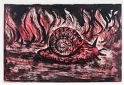 Sale 8976A - Lot 5053 - Peter Booth (1940 -) - Flames & Snail 12 x 17.5 cm (frame: 47 x 30 x 3 cm)