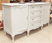 Sale 9060H - Lot 97 - A Continental breakfront sideboard, the four central doors flanked by two cupboard doors and raised on cabriole feet, with grey pain...