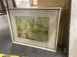 Sale 9113 - Lot 2052 - South East Asian School, Two Women Walking Past Ruins, watercolour, frame: 40 x 50 cm,