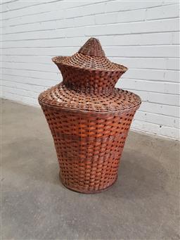 Sale 9121 - Lot 1082 - Cane lidded basket (h:60 x d:49cm)