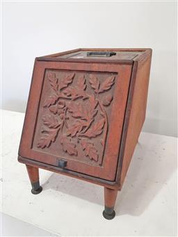 Sale 9157 - Lot 1048 - Oak lift front fire box (h:42 x w:32 xd:46cm)