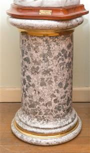 Sale 8368A - Lot 32 - An Italian grey and white with gilt banding ceramic pedestal, H 56cm