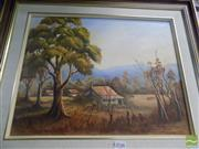 Sale 8513 - Lot 2048 - Marjorie Bourke - Old Freds Place, oil on canvas board, 34.5 x 44.5cm, signed lower right