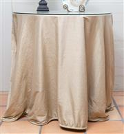 Sale 8550H - Lot 9 - An circular occasional table in wrought iron with glass top and silk coverture, D of glass top 79cm