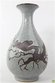 Sale 8594D - Lot 50 - Dragon Themed Crackle Glaze Vase (H:37cm)