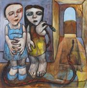 Sale 8821A - Lot 5042 - Kay Singleton Keller (1940 - 2014) - Sisters 91.5 x 91.5cm
