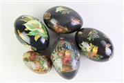 Sale 8894 - Lot 339 - Set Of Five Decoupage Decorated Emu Eggs