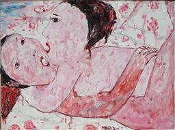 Sale 8929 - Lot 528 - Hao Li (1975 - ) - Two Women Embracing, 2007 40 x 39.5 cm