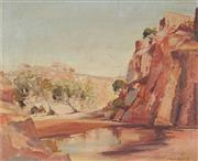 Sale 8927 - Lot 2012 - Jack Montgomery (1927 - 2001) Palm Valley, Central Australia oil on board, 44 x 54cm, signed -
