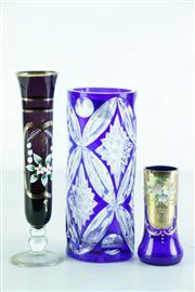 Sale 8968 - Lot 81 - Bohemia Crystal Blue Vase with 2 Bud Vases