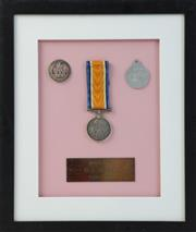 Sale 8994W - Lot 617 - Framed WWI Medal Set For Private  W.J Davies (34cm x 29cm)