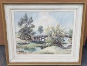 Sale 9019 - Lot 2062 - John Upton, The Bridge at Menangle, watercolour, 51 x 62cm (frame), signed lower right