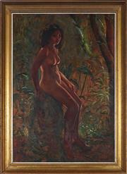 Sale 9058 - Lot 2036 - Paul Delprat (1942 - ) - Seated Nude in Jungle Trail 60.5 x 41 cm (frame: 70 x 51 x 4 cm)