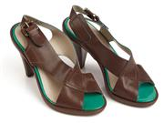 Sale 9071F - Lot 54 - A PAIR OF MIEZKO STRAPPY SLING BACK LOW HEELS; in brown and green,  size 36